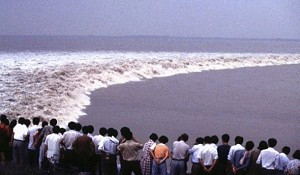 The Qiantang tidal river bore from the left bank